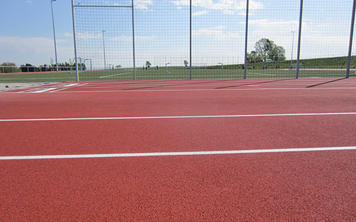 running track and playing field